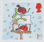 Christmas. Robins 1st Stamp (2001) Robins on Bird Table