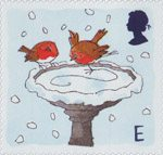 Christmas. Robins E Stamp (2001) Robins skating on Bird Bath