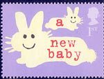 'Occasions' Greetings Stamps 1st Stamp (2002) Rabbits (' a new baby')