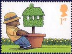 'Occasions' Greetings Stamps 1st Stamp (2002) Bear pulling Potted Topiary Tree (Moving Home)