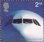 50th Anniversary of Passenger Jet Aviation. Airliners 2nd Stamp (2002) Airbus A340-600 (2002)