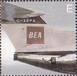 50th Anniversary of Passenger Jet Aviation. Airliners E Stamp (2002) Trident (1964)