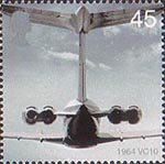 50th Anniversary of Passenger Jet Aviation. Airliners 45p Stamp (2002) VC 10 (1964)