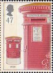 150th Anniversary of the First Pillar Box 47p Stamp (2002) Double Aperture Box, 1939