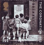 50th Anniversary of Coronation 1st Stamp (2003) East End Children reading Coronation Party Poster