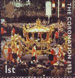 50th Anniversary of Coronation 1st Stamp (2003) Coronation Coach outside Buckingham Palace