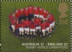 England's Victory in Rugby World Cup Championship, Australia 1st Stamp (2003) Team Circle