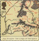 Tolkien 1st Stamp (2004) Map showing Middle Earth