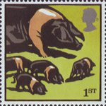 Farm Animals 1st Stamp (2005) British Saddleback Pigs