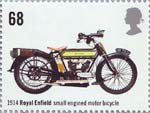 British Motorcycles 68p Stamp (2005) Royal Enfield, Small Engined Motor Bicycle (1914)