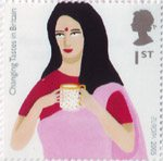 Europa. Gastronomy. Changing Tastes in Britain 1st Stamp (2005) Indian Woman drinking Tea