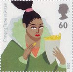 Europa. Gastronomy. Changing Tastes in Britain 60p Stamp (2005) Woman eating Chips
