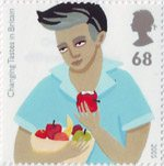 Europa. Gastronomy. Changing Tastes in Britain 68p Stamp (2005) Teenage Boy eating Apple