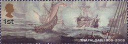 Bicentenary of the Battle of Trafalgar (1st issue) 1st Stamp (2005) Entrepreante with dismasted British Belle Isle