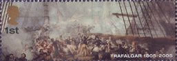 Bicentenary of the Battle of Trafalgar (1st issue) 1st Stamp (2005) Nelson wounded on Deck of HMS Victory