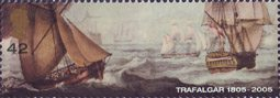 Bicentenary of the Battle of Trafalgar (1st issue) 42p Stamp (2005) Cutter and HMS Pickle (schooner)
