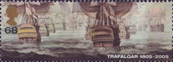 Bicentenary of the Battle of Trafalgar (1st issue) 68p Stamp (2005) British Fleet attacking in Two Columns