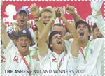 England's Ashes Victory 1st Stamp (2005) England celebrate the Ashes victory.