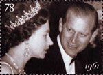 The Diamond Wedding Anniversary 78p Stamp (2007) Queen and Prince Philip at premiere of The Guns of Navarone, 1961