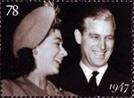 The Diamond Wedding Anniversary 78p Stamp (2007) Princess Elizabeth and Lieutenant Philip Mountbatten, 1947
