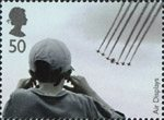 Air Shows 50p Stamp (2008) Boy watching The Red Arrows