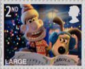 Christmas with Wallace and Gromit 2nd Large Stamp (2010) Wallace and Gromit carol singing
