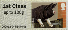 Post & Go: Pigs - British Farm Animals 2 1st Stamp (2012) Berkshire