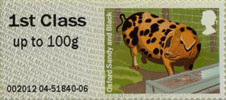 Post & Go: Pigs - British Farm Animals 2 1st Stamp (2012) Oxford Sandy and Black