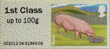 Post & Go: Pigs - British Farm Animals 2 1st Stamp (2012) Welsh