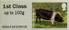 Post & Go: Pigs - British Farm Animals 2 1st Stamp (2012) British Saddleback