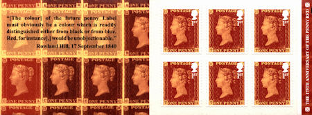 Booklet pane for The 175th Anniversary of The Penny Red (2016)
