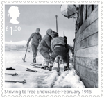 Shackleton and the Endurance Expedition £1.00 Stamp (2016) Striving to free Endurance - February 1915