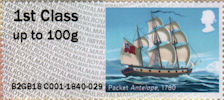Post & Go : Royal Mail Heritage : Mail by Sea 1st Stamp (2018) Packet Antelope, 1780