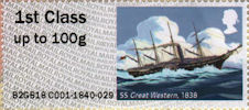 Post & Go : Royal Mail Heritage : Mail by Sea 1st Stamp (2018) SS Great Western, 1838