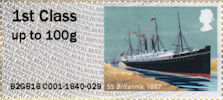 Post & Go : Royal Mail Heritage : Mail by Sea 1st Stamp (2018) SS Britannia, 1887
