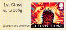 Post & Go : Game of Thrones 1st Stamp (2018) The Iron Throne - Fire