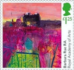 Royal Academy of Arts £1.25 Stamp (2018) Barbara Rae - Inverleith Allotments and Edinburgh Castle