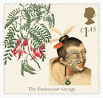 Captain Cook and Endeavour £1.45 Stamp (2018) Clianthus puniceus (Scarlet Clianthus)