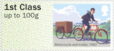Post & Go : Royal Mail Heritage : Mail by Bike 1st Stamp (2018) Motorcycle and trailer, 1902