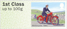 Post & Go : Royal Mail Heritage : Mail by Bike 1st Stamp (2018) Motorcycle, 1965
