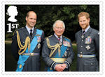 HRH The Prince of Wales : 70th Birthday 1st Stamp (2018) HRH The Prince of Wales with his sons HRH The Duke of Cambridge and HRH The Duke of Sussex