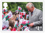 HRH The Prince of Wales : 70th Birthday £1.55 Stamp (2018) HRH The Prince of Wales greets school children during a visit to Llancaiach Fawr Manor