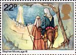 Christmas 1981 22p Stamp (1981) Joseph and Mary arriving at Bethlehem