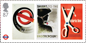 London Underground 87p Stamp (2013) London Underground Posters - A train every 90 seconds, Thanks to the Underground and Cut travelling time