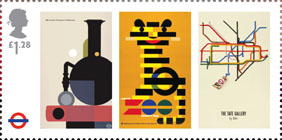 London Underground £1.28 Stamp (2013) London Underground Posters - The London Transport Collection, London Zoo and the Tate Gallery by Tube