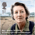 Great Britons 1st Stamp (2013) Mary Leaky (1913-1996)