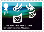 Great British Film 1st Stamp (2014) Love on the Wing (1938)