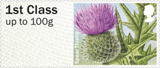 Post & Go: Symbolic Flowers - British Flora 2 1st Stamp (2014) Spear Thistle