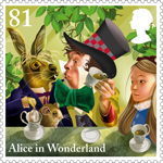 Alice in Wonderland 81p Stamp (2015) A Mad Tea-Party