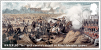 The Battle of Waterloo £1.00 Stamp (2015) Waterloo - The French cavalry's assault on Allied defensive squares